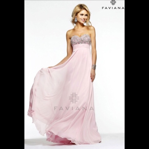 Faviana Dresses | Baby Pink Bejeweled Prom Dress Gown | Poshmark